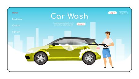 Car wash landing page flat color vector template. Auto cleaning tools homepage layout. High pressure cleaner one page website interface with cartoon character. Power washer web banner, webpage. ZIP file contains: EPS, JPG. If you are interested in custom design or want to make some adjustments to purchase the product, don't hesitate to contact us! bsd@bsdartfactory.com Illustration