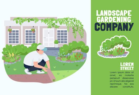 Landscape gardening company banner flat vector template. Brochure, poster concept design with cartoon characters. Courtyard greening service, lawn care horizontal flyer, leaflet with place for text. ZIP file contains: EPS, JPG. If you are interested in custom design or want to make some adjustments to purchase the product, don't hesitate to contact us! bsd@bsdartfactory.com