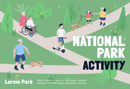 National park activities banner flat vector template. Brochure, poster concept design with cartoon characters.