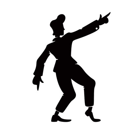 Retro style confident guy black silhouette vector illustration. Old fashioned male person in hand up pose.