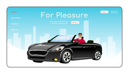 For pleasure landing page flat color vector template. Auto showroom homepage layout. Luxurious cars sale one page website interface with cartoon character. Recreation transport web banner, webpage. ZIP file contains: EPS, JPG. If you are interested in custom design or want to make some adjustments to purchase the product, don't hesitate to contact us! bsd@bsdartfactory.com 일러스트