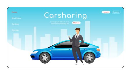 Carsharing landing page flat color vector template. Ride share service homepage layout. Carpooling one page website interface with cartoon character. Automobile rent web banner, webpage. ZIP file contains: EPS, JPG. If you are interested in custom design or want to make some adjustments to purchase the product, don't hesitate to contact us! bsd@bsdartfactory.com 일러스트