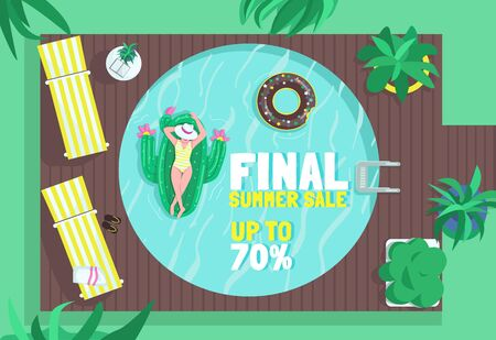 Final summer sale poster flat vector template. Purchase air mattresses. Inflatable water rows shop. Brochure, booklet one page concept design with cartoon characters.