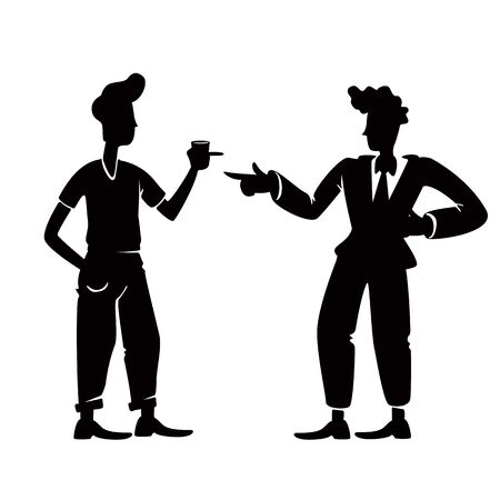 Old school guys greeting black silhouette illustration. Male people in standing pose. Two pop style men meeting, 1950s friends together 2d cartoon characters shape for commercial, animation, printing.  イラスト・ベクター素材