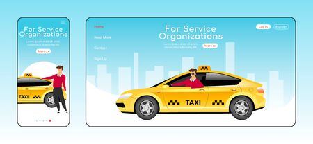 For service organizations responsive landing page flat vector template. Taxi service homepage layout. One page website UI with cartoon character. Cab delivery adaptive webpage cross platform design. ZIP file contains: EPS, JPG. If you are interested in custom design or want to make some adjustments to purchase the product, don't hesitate to contact us! bsd@bsdartfactory.com