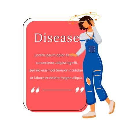 Disease flat color vector character quote. Woman suffering dizziness. Vertigo from sickness. Head ache. Citation blank frame template. Speech bubble. Quotation empty text box design. ZIP file contains: EPS, JPG. If you are interested in custom design or want to make some adjustments to purchase the product, dont hesitate to contact us! bsd@bsdartfactory.com Ilustração