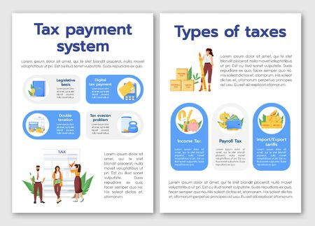 Tax payment system flat vector brochure template. Taxes types flyer, booklet, printable leaflet design. Financial literacy magazine page, cartoon annual reports, infographic posters with text space