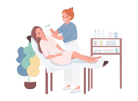 Mesotherapy flat color vector characters. Woman getting anti-aging injection. Beautician doing facial fillers. Cosmetology treatment. Beauty salon procedure isolated cartoon illustration