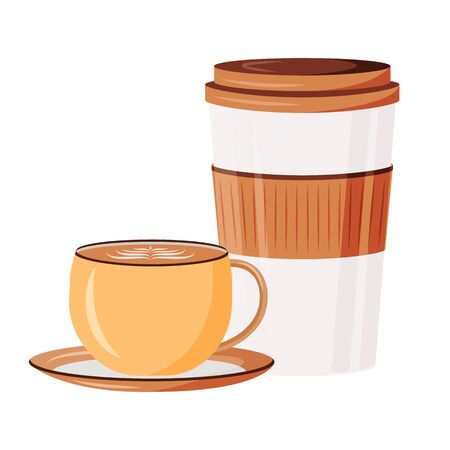 Caffeine drinks cartoon vector illustration. Cappuccino in ceramic cup. Espresso and latte takeout. Coffeehouse drink options. Coffee in mugs flat color object. Cups isolated on white background Çizim