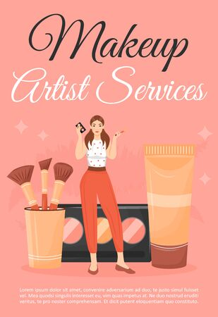 Makeup artist service poster flat vector template. Woman with beauty salon cosmetics. Brochure, booklet one page concept design with cartoon characters. Make up courses flyer, leaflet