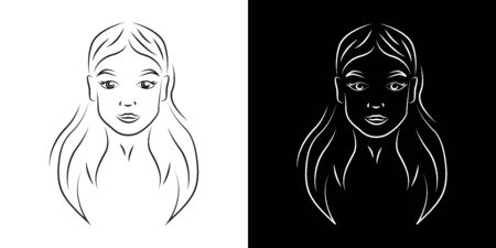 Young beautiful woman contour portrait vector illustration. Teenage girl face with smiling expression realistic line art. Lady with natural beauty outline character on black and white backgrounds 向量圖像