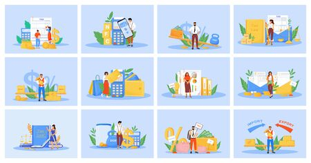Taxes and payments flat concept vector illustrations set. Finances management, legal obligation. Taxation and audit metaphors. Taxpayers and professional accountants 2D cartoon characters