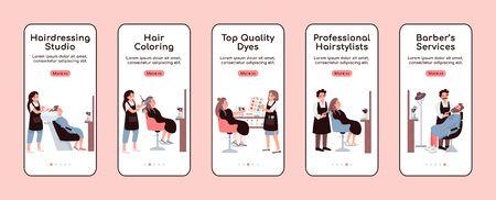 Hairdressing salon onboarding mobile app screen flat vector template. Barber shop service. Walkthrough website steps with characters. UX, UI, GUI smartphone cartoon interface, case prints set