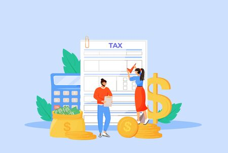 Tax payment guideline flat concept vector illustration. People filling invoice, utility bill 2D cartoon characters for web design. Taxation, finances management, budget planning creative idea