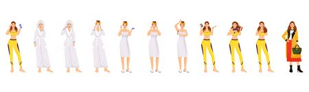 Woman morning routine flat color vector characters set. Face, body and hair daily procedures isolated cartoon illustrations on white background. Girl cleansing face, doing make up, styling hair