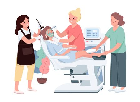 Spa flat color vector characters. Young caucasian woman getting cosmetic treatment. Female applying green mask. Laser depilation. Hair coloring. Beauty salon procedure isolated cartoon illustration