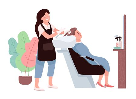 Hairdressing flat color vector characters. Female hairdresser washing client's hair. Cosmetic preparation for coloration. Professional hairstylist. Beauty salon procedure isolated cartoon illustration