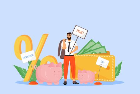 Payroll tax flat concept vector illustration. Businessman, taxpayer, employee paying income fee 2D cartoon character for web design. Taxation rate, deduction from workers wages creative idea