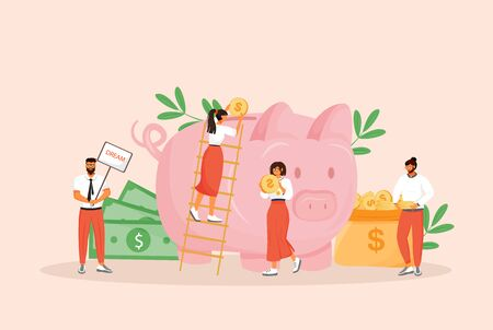 Money saving flat concept vector illustration. Men and women planning budget 2D cartoon characters for web design. Bank deposit, future investment, pension fund, finances management creative idea