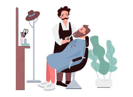 Barbershop flat color vector characters. Man cutting beard. Male stylist trimming facial hair. Hipster getting haircut. Hairdressing treatment. Beauty salon procedure isolated cartoon illustration