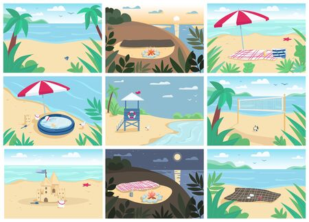 Tropical sand beach and sea flat color vector illustrations set. Blanket with sun umbrella, inflatable pool, lifeguard tower. Seascape, exotic peaceful nature. Seashore 2D cartoon landscapes