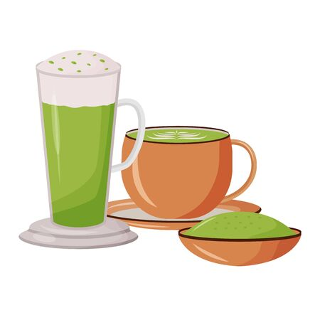 Matcha latte cartoon vector illustration. Glass tall mug. Bamboo powder on soucer. Cafeteria menu. Green tea in mugs flat color object. Nutritious herbal drinks isolated on white background