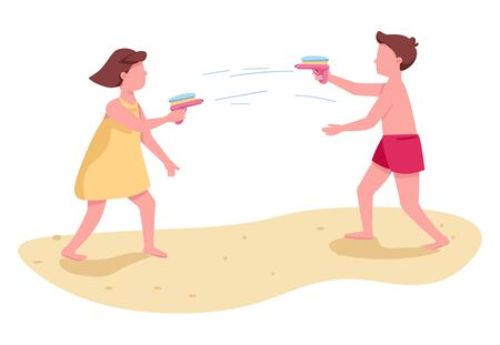 Children fighting with water guns flat color vector faceless characters. Kids beach activity. Boy and girl summer entertainment isolated cartoon illustration for web graphic design and animation Vecteurs