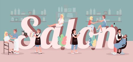 Salon word concepts flat color vector banner. Spa center treatment. Hair coloring. Applying make up. Isolated typography with tiny cartoon characters. Beauty parlor creative illustration on green