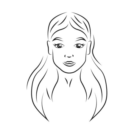 Young beautiful woman contour portrait vector illustration. Teenage smiling girl face with cheerful expression realistic line art. Lady with natural makeup outline character on white background 向量圖像