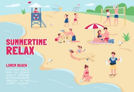 Summertime relax banner flat vector template. Brochure, poster concept design with cartoon characters. Summer vacation, recreation at sand beach horizontal flyer, leaflet with place for text Stock Vector - 142950153