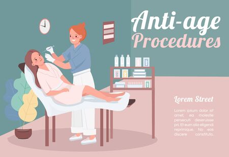 Anti-age procedures banner flat vector template. Brochure, poster concept design with cartoon characters. Woman getting facial fillers. Beauty salon horizontal flyer, leaflet with place for text