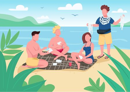 Friends playing cards on beach flat color vector illustration. People buying seashell souvenirs. Local merchant selling accessories. Summer fun. 2D cartoon characters with seascape on background Ilustrace