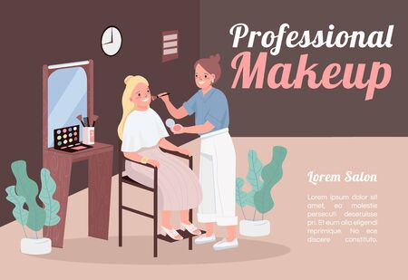 Professional makeup banner flat vector template. Brochure, poster concept design with cartoon characters. Beautician cosmetic service. Skincare treatment horizontal flyer, leaflet with place for text