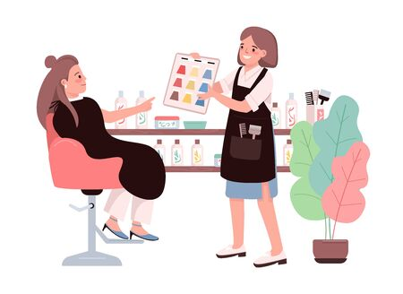 Hair coloring flat color vector characters. Young woman choosing hair dye. Getting coloration from hairdresser. Professional hairstylist. Beauty salon procedure isolated cartoon illustration Illusztráció
