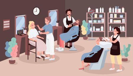 Hairdressing salon flat color vector illustration. Man cutting beard. Hairdresser washing womans hair. Artist apply make up. Stylists 2D cartoon characters with beauty salon furniture on background