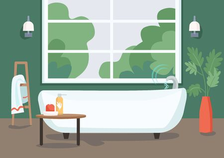 Smart bathtub flat color vector illustration. Internet of things technology in everyday life. Water flow remote control. Modern apartment 2D cartoon interior with bathroom on background