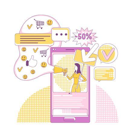 SMM tools thin line concept vector illustration. Internet promoter, influencer 2D cartoon character for web design. Social media marketing, viral online advertising, internet promotion creative idea