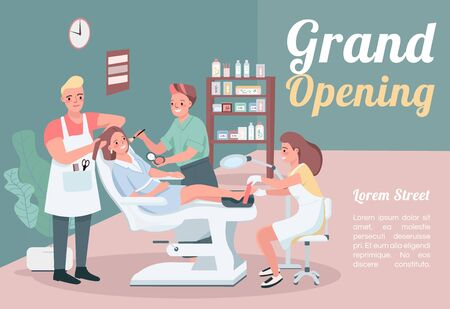 Grand opening banner flat vector template. Brochure, poster concept design with cartoon characters. Hairstylist visit. Make up artist. Beauty salon horizontal flyer, leaflet with place for text 向量圖像
