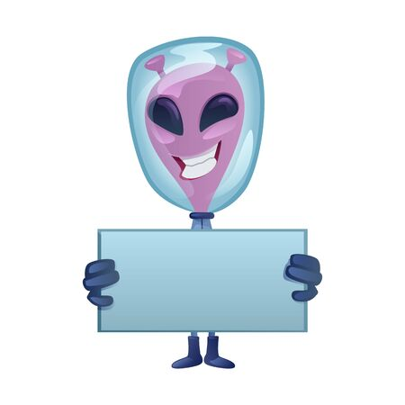 Smiling martian with blank banner flat cartoon vector illustration. Happy extraterrestrial. Ready to use 2d character template for commercial, animation, printing design. Isolated comic hero