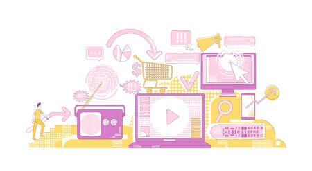 Digital advertising thin line concept vector illustration. Potential customer 2D cartoon character for web design. Online marketing campaign, modern promotion technologies creative idea Vektorové ilustrace