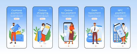 Moderne belastingbetalingssysteem onboarding mobiele app scherm platte vector sjabloon. Financiële technologie walkthrough website stappen met karakters. UX, UI, GUI smartphone cartoon interface, case prints set