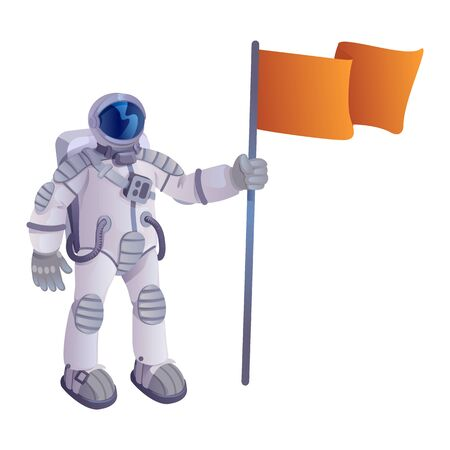 Cosmonaut with flag cartoon vector illustration. Astronaut in spacesuit, spaceman holding pennant. Ready to use 2d character template for commercial, animation, printing design. Isolated comic hero