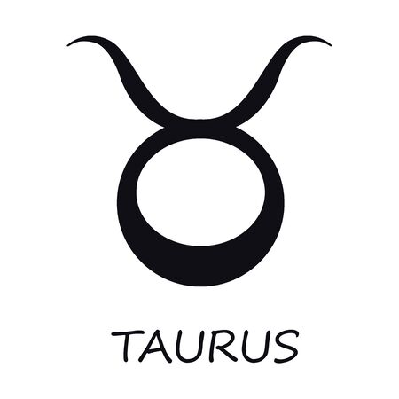 Taurus zodiac sign black vector illustration. Celestial bull esoteric earth silhouette symbol. Astrological constellation. Horoscope month prediction chart element. Isolated glyph icon