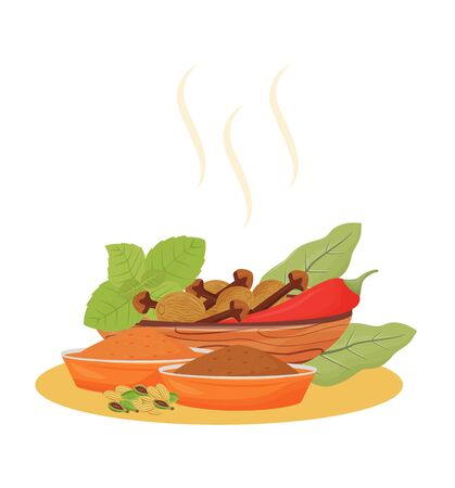 Indian beverage condiments cartoon vector illustration. Tea additives in wooden bowls flat color object. Traditional drink flavourings and aromatic ingredients isolated on white background