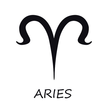 Aries zodiac sign black vector illustration. Celestial ram esoteric fire silhouette symbol. Astrological constellation. Horoscope month prediction chart element. Isolated glyph icon 일러스트