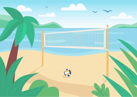 Beach volleyball net flat color vector illustration. Ball game outdoor cort. Summer vacation entertainment. Seacoast 2D cartoon landscape with water and tropical palm trees on background