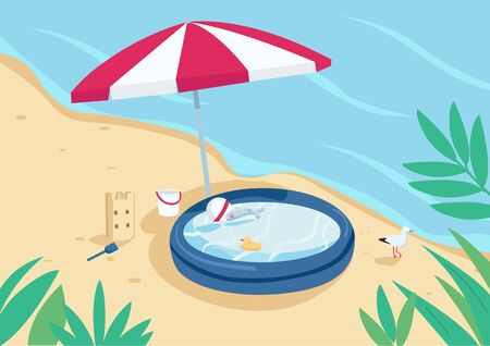 Inflatable pool and sun umbrella on sand beach flat color vector illustration. Parasol, sandcastle and children swimming pool. Summer vacation. Seacoast 2D cartoon landscape with water on background