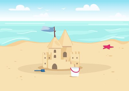 Sandcastle on beach flat color vector illustration. Summer vacation entertainment for kids. Sand castle and children toys on seacoast 2D cartoon landscape with water on background