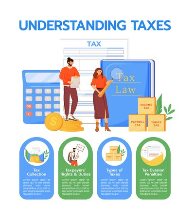 Understanding taxes flat color vector informational infographic template. Taxation poster, booklet, PPT page concept design with cartoon characters. Advertising flyer, leaflet, info banner idea
