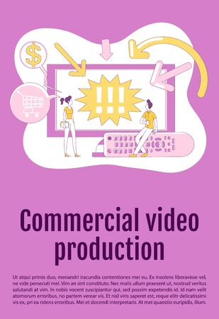 Commercial video production poster flat silhouette vector template. TV advertising brochure, booklet one page concept design with cartoon characters. Content marketing flyer, leaflet with text space